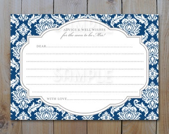 Bridal Shower Advice Card /Navy Midnight Blue Damask 218 / Instant Download / PRINTABLE /  3964 a