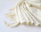 Cobweb Felted scarf -  wedding white winter snow