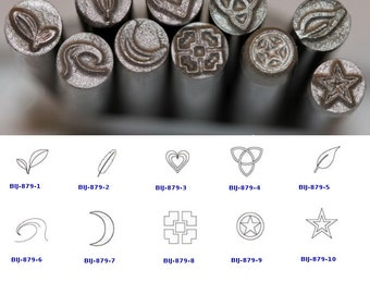 BIJ-879-P, KENT 5mm Precision Design Metal Punch Stamps: Leaves, Heart, Stars, Moon Crescent, Sold Individually