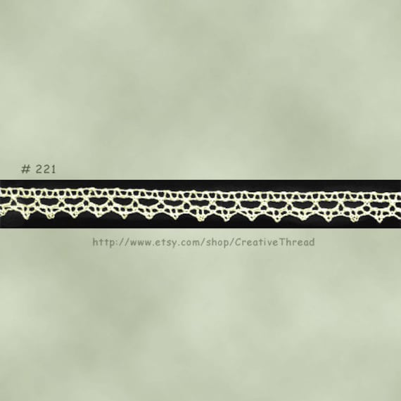 "Cotton Lace - Narrow French Cotton Cluny Lace Edging - ECRU - 1/4"" Wide  - No. 221 - 1 Yard"