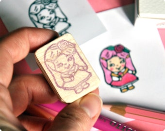Charmkins hand carved rubber stamp