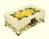 Hand Painted Jewelry Box with Mirror, 2 Trays - Rich Yellow Roses, Green Leaves - Custom Floral Jewellry Box Keepsake Box
