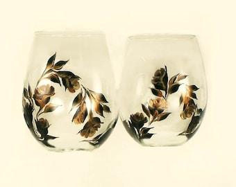 Hand-Painted Bronze and Copper Rose Stemless Wine Glasses Set of 4 -  HandPainted Barware Cocktail Glasses