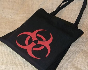 Medium Black Tote with Hazardous Material Bleach Pattern