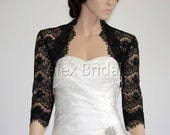 3/4 sleeve black lace bolero wedding jacket