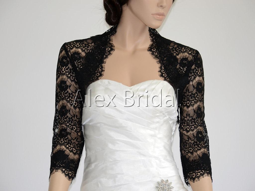 3 4 sleeve black lace bolero wedding jacket for Black lace jacket for wedding dress