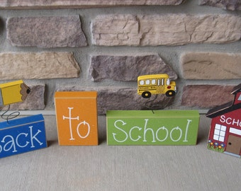 Back to SCHOOL BLOCKS with pencil, school bus and schoo house, for desk, shelf, mantle, school decor, teacher decor, home decor