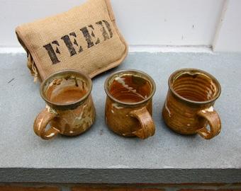 1970s Pottery Mugs 3 Signed Thorson 77 Boho Hippie Vintage Stoneware Brown Flecked White Squiggles