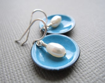 French Blue Modern Minimalist Earrings White Pearl