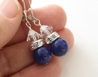 Blue Glass Pearls Earrings - Rhinestone Spacers Earrings - Dangle Earrings - Swarovski Earrings - Casual Earrings - Crystal Earrings