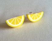 Lemon Earrings - Lemon post Earrings - lemon slice studs - Under 5 dollars - Summer Jewelry - Wedding Jewelry - Kawaii - Fruit Jewelry