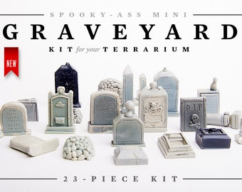Custom Listing: 23-Piece Mini Cemetery or Graveyard Kit for Your Terrarium or Garden or Fish Tank or Whatever. Creep Up Your Halloween
