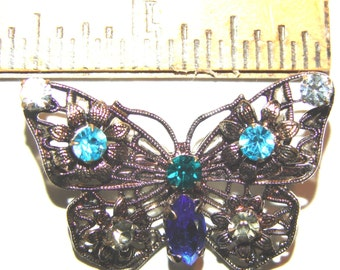Vintage Silver Filigree Butterfly Pin Brooch