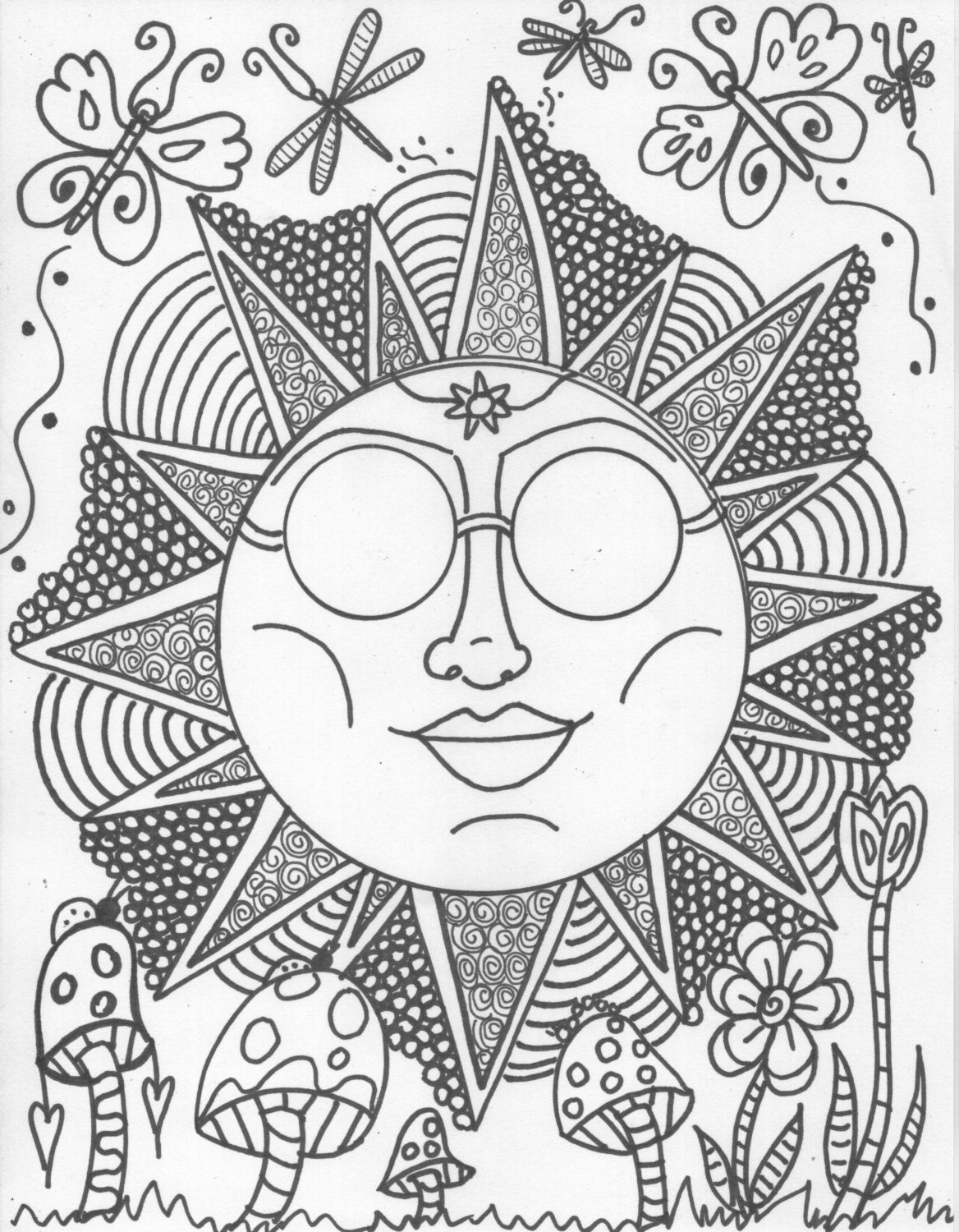 Hippie Coloring Pages For Adults : Hippie custom coloring book pages by