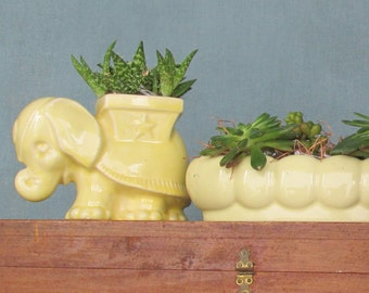 quirky animal - Vintage  Pottery - 2 planters - canary yellow