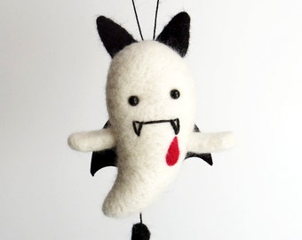 Vampire Halloween figurines : needle felted ghost plush ornament, cute goth kawaii decor