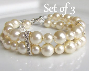 Multi Strand Pearl Bracelet, Ivory Pearl Bracelet, Bridesmaid Bracelet, Double Strand Pearl Cuff, Gift Set, Sterling Silver, Wedding Jewelry