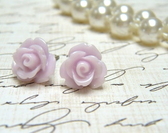 Thistle Purple Flower Earrings, Thistle Rose Earrings, Stud Earrings, Bridesmaid Jewelry, Vintage Style Earrings, Surgical Steel