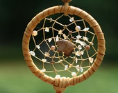 Dreamcatcher, tan bear center with copper and stones