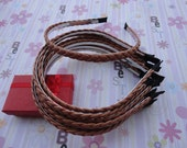 18pc light coffee color braid leather covered metal headband with bent end thin 5mm