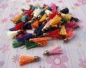 50pcs assorted colors Silk/Satin Leather Tassels charms pendant, Ideal Accessories for DIY projects, Suede leather tassel