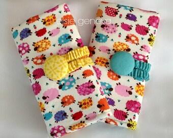 Sheep Crochet Hook Case Organizer with Sewn in Zipper Pocket - Aluminum Soft Grip Furls Polymer Clay Crochet Hooks - Made to Order