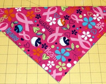 Dog Bandana, Breast Cancer, Awareness, Pink Ribbon, neckerchief, scarf