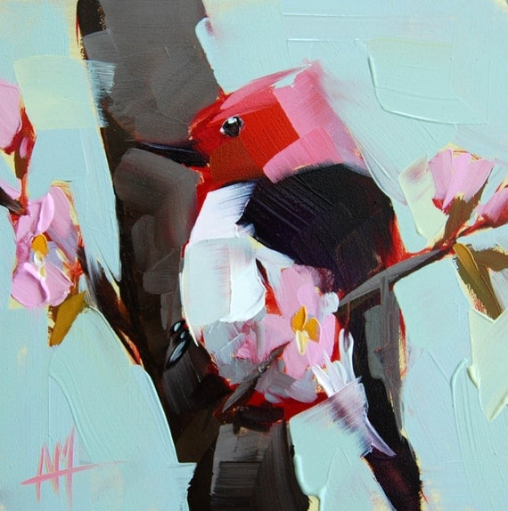 Red headed Woodpecker and Blossoms original bird oil painting
