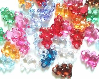 50pcs Cute Teddy bear acrylic bead mix color