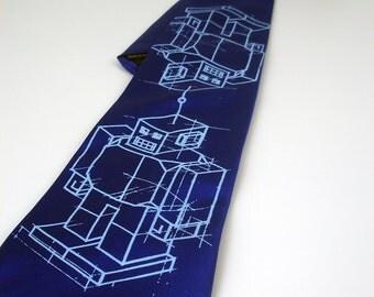 Men's Necktie - Silkscreened Robots Tie - Microfiber Tie - Gift Wrapped