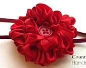 Red Satin Ribbon Flower Headband...Baby Flower Headband...Red Headband...Red Flower Headband...Newborn Headband...