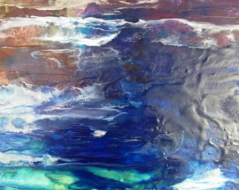 Abstract seascape encaustic beeswax painting