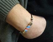 Barber Pole Friendship Bracelet For Man. Barber Pole Knot Bracelet