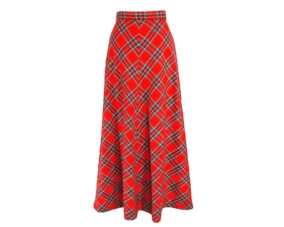 vintage 80s maxi skirt tartan plaid sz s m boho by