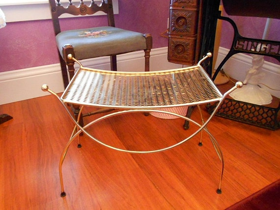 Vintage BOUDOIR VANITY BENCH Seat Chair Retro By