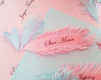 Pink Feather place cards - Handmade of iridescent Pink paper, Name Printing Included