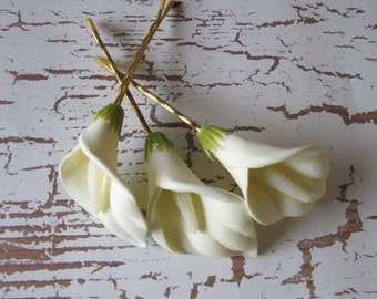 Ivory Calla Lilies flowers SET OF 3 bobby pins -hair clips - Weddings