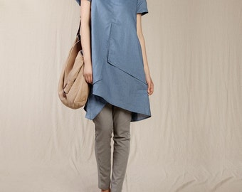Loose Fitting Sundress Short Sleeve Summer Dress in Blue(more colour and size choice)-NS02