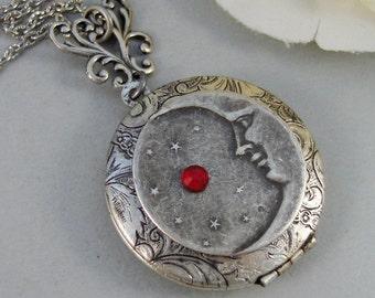 Luna's Star,Locket,Silver Locket,Girl,Moon,Goddess,Star,Necklace,Antique Locket,Luna,Birthstone. Handmade jewelry by valleygirldesigns.