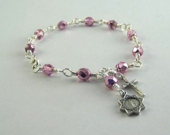 Miraculous Medal Rosary Bracelet with Your Choice Color Beads