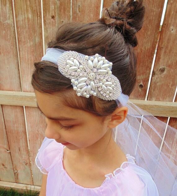 Flower Girl Headpieces: Flower Girl Headpiece Rhinestone Headpiece Bridal Headpiece