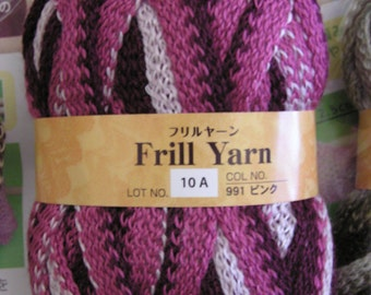 Daiso 'Frill' Yarn - 4 Skeins Ruffle Yarn in Color 991 'Pink' includes FREE Pattern and FREE SHIPPING