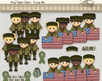 Army Clipart 21 digital png files for scrapbooking, card making, digital and paper crafts