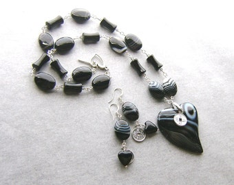 Black and White Agate Heart Necklace Set-What Cost My Love-Chinese Character Coins, Black and White, Silver