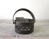 Perfectly Tarnished Brass Basket with Heart Design