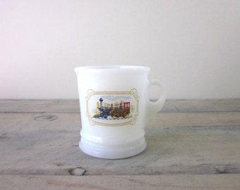Avon Milk Glass Train Cup Mug