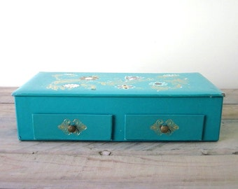 Vintage Aqua Jewelry Storage Box