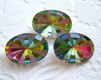 18x13mm vitrail medium rivoli star burst oval glass rhinestone lot of (2) - CF142