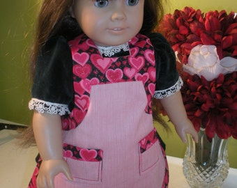 American Girl Doll -  Valentine's Day Hearts Apron, Child's Apron, Pastries, Cookie Cutter, Valentines