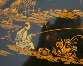 Drexel table, 1940s, Chinoiserie, black lacquer end table, beautiful and rare